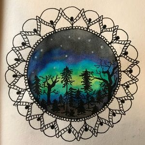 Northern lights watercolor painting